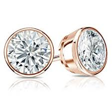 stud diamond earrings 14k white gold bezel set diamond stud earrings