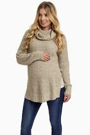 beige cowl neck knit maternity sweater