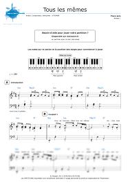 Les Memes - piano sheet music tous les mêmes stromae noviscore sheets