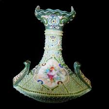 Nippon Hand Painted Vase Nippon Moriage Vase Hand Painted Center Panels 7 U2033 Tall Beaded