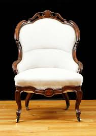 Victorian Upholstered Chair English Victorian Upholstered Slipper Chair In Mahogany Circa