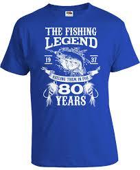 80th birthday t shirt fishing clothing gift ideas for him