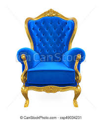Throne Chair Blue Throne Chair Isolated On White Background 3d Render Drawings
