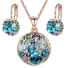 swarovski necklace blue stone images Presented by miss new york leafael quot ocean bubble jpg