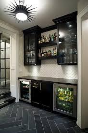 Kitchen Bar Cabinet Ideas Mini Bar In The Basement With Slate Herringbone Tile Starburst