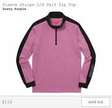supreme sleeve stripe l s half zip top dusty purple size xl long