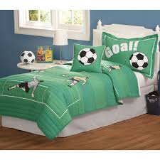 kids sports bedding sets sports bedding sets for boys quilt cool green fabric football masculine bedding with white polished hickory wood bed also white shades and stainless steel table lamp for boys bedroom ideas