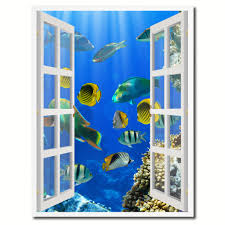 tropical island fish picture french window canvas print with frame