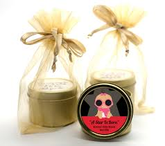 baby shower candle favors a is born gold tin candle favors candles favors