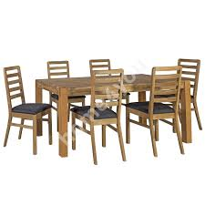 dining set chicago with 6 chairs 19915 180x90xh76cm wood oak