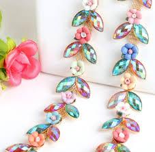 high quality oval rhinestone trim buy cheap oval rhinestone trim 1 yard resin roses flower u0026 ab color oval crystals trim ribbon for sewing wedding apparel