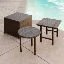 Wicker Accent Table Wicker Patio End Tables In Brown Color Scheme With Square And