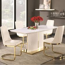 coaster cornelia white and gold tone 5 piece dining table
