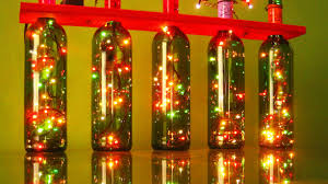 christmas lights with recycled wine bottles recycling project 4
