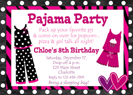 Card Party Invitation Pajama Party Invitations Kawaiitheo Com