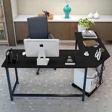 tribesigns modern l shaped corner computer desk teak walmart com