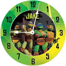 personalized teenage mutant ninja turtles turtle power wall clock