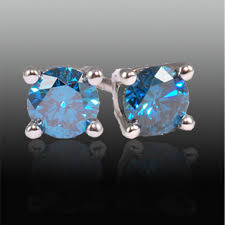 blue diamond stud earrings 1 66 carat total weight blue diamond studs