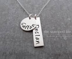 Kids Name Necklace Name Necklace Two Kids Name Necklace Sterling Silver