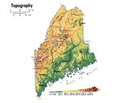 Topographic Map Of The United States by Topographic Map Of Maine