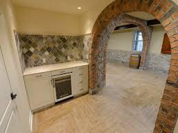 flooring ideas crisscross tile flooring options for basement parquet flooring ideas for basement flooring with curved brick wall also crisscross stone backsplash area