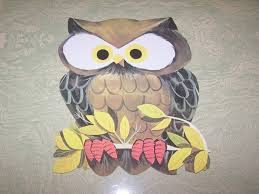 vintage halloween die cut decoration eureka owl on branch from