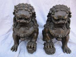 japanese guard dog statues bronze sculpture pair royal imperial lion fu foo dog guard