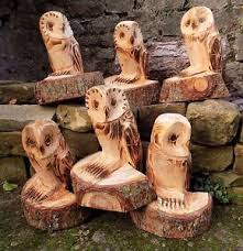 chainsaw carved owl ornamental garden patio feature sculpture wood