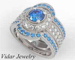 blue diamond wedding rings filligree fancy blue diamond trio wedding ring set vidar jewelry