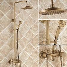 antique brass 8 inch shower head hand shower tub shower faucet