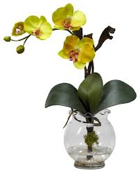 Silk Flower Arrangements Mini Phalaenopsis With Fluted Vase Silk Flower Arrangement