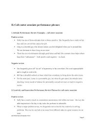 Call Center Job Resume by Call Center Associate Performance Appraisal