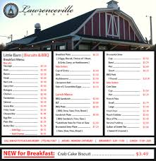 Round Barn Public House Menu Little Barn Biscuits U0026 Bbq Lawrenceville Ga