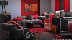 Red And Gray Living Room Red White And Grey Living Room Parquet Flooring Above Mosaic Rug