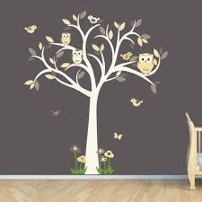 Nursery Owl Wall Decals Owl Decal Owl Tree Wall Sticker Goldish Yelllow Grey Owl Owl
