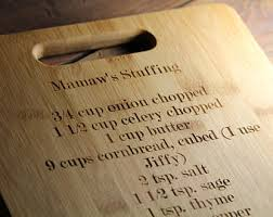 cutting board with recipe engraved personalized cutting board recipe cutting board family