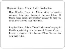 Miami Video Production Miami Video Production Companies Regulus Films