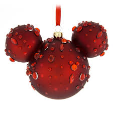 mickey mouse icon glass ornament ruby gems shopdisney