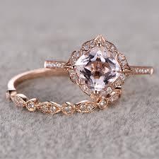 morganite wedding set ring women ring 2pcs 8mm 2 5ct cut morganite bridal set