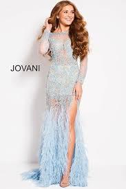 light blue long sleeve dress light blue sheer feather dress mia bella couture