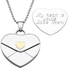 engraved heart necklace personalized stainless steel engraved heart envelope pendant
