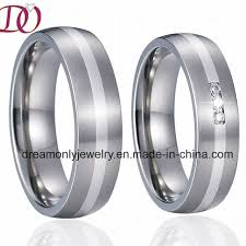 silver steel rings images China unique silver inlay stainless steel rings pair couple rings jpg
