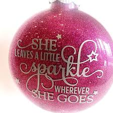 Champagne Glitter Christmas Decorations by She Leaves A Little Sparkle Wherever She From Melissashomedecor