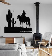 Cowboy Wild West Vinyl Wall Stickers Cactus Boy Room Sticker Decor