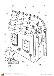Dessin à colorier décorations de Noël maison en pain dépice