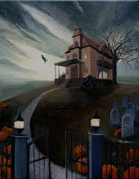 halloween paintings ideas haunted house painting artistic ideas