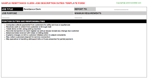 Office Clerk Job Description For Resume by Remittance Clerk Job Description