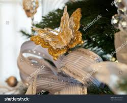 tree decorated silver white ribbons stock photo 90464656