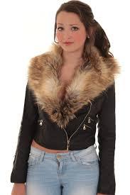 la s detachable faux fur collar women s crop synthetic leather