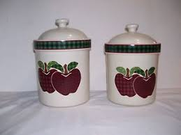 apple canisters for the kitchen set 2 ceramic canisters apple design applejack stoneware plaid